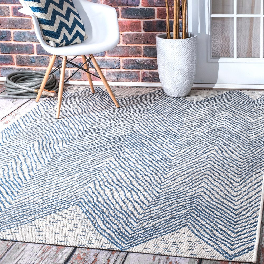The Curated Nomad Delmar Blue Indoor/Outdoor Geometric Wavy Chevron Area Rug