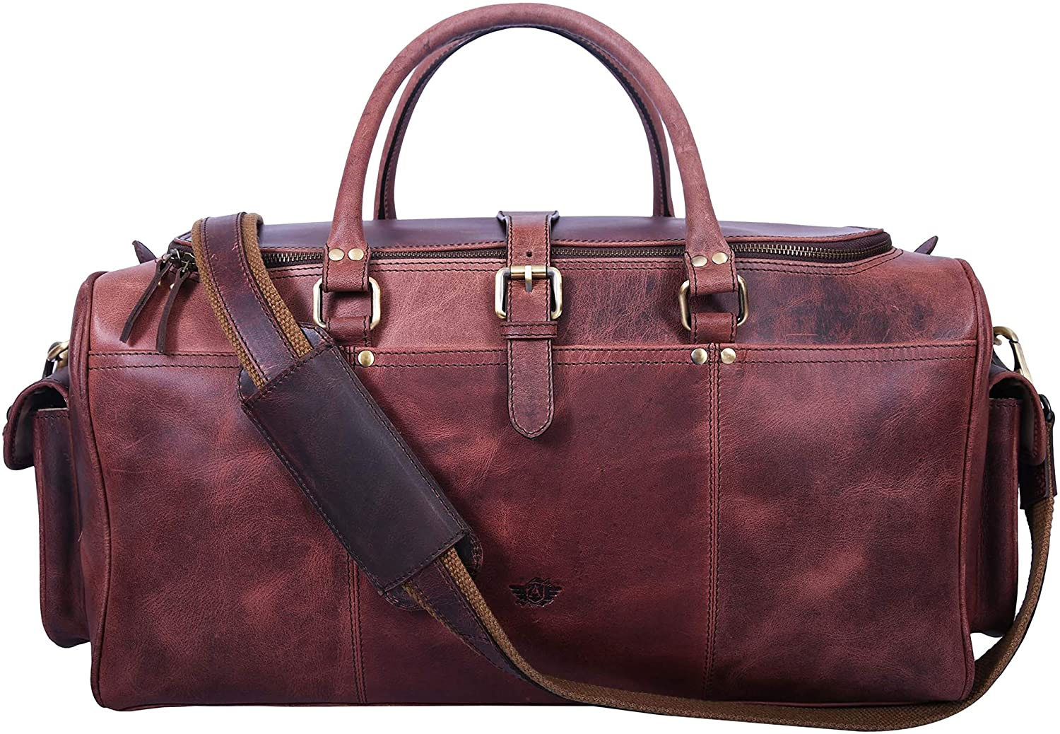 A Addey Supply Company Puro Lusso Leather Duffle Overnight Bag
