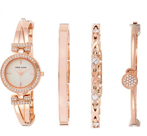 Anne Klein Swarovski Crystal-Accented Rose Gold-Tone Watch and Bracelet Set