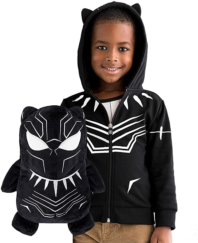 Cubcoats Black Panther - 2-in-1 Transforming Hoodie and Soft Plushie - Black with White