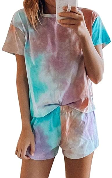 Blibea Women's Tie Dye Printed Tee and Shorts Pajamas Set