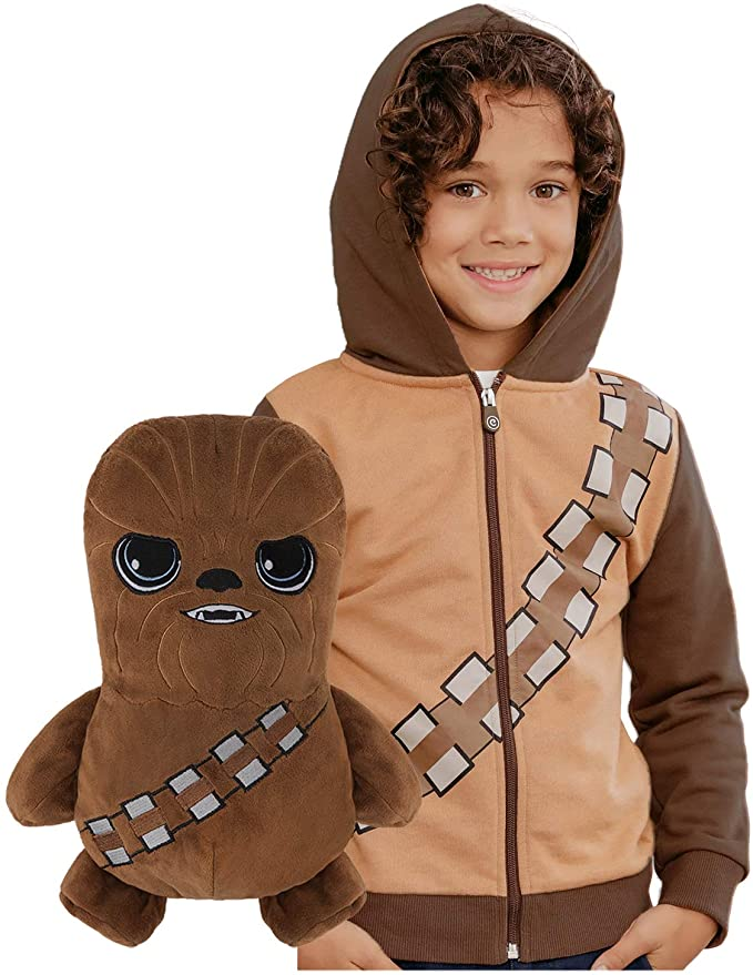 Cubcoats Star Wars Chewbacca - Transforming 2-in-1 Classic Zip-Up Hoodie & Plushie - Chewie Brown