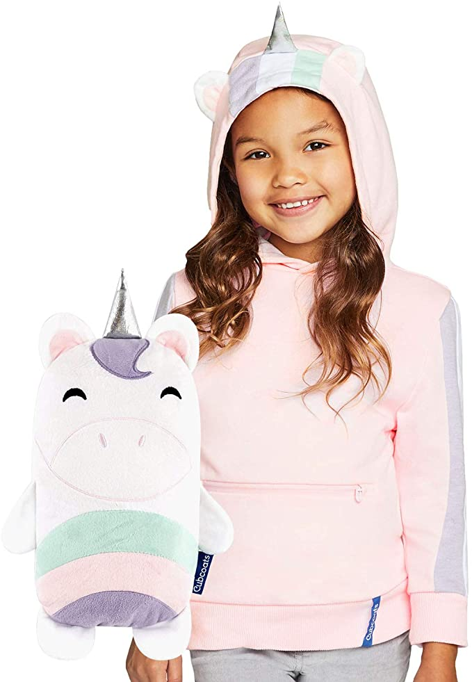 Cubcoats Uki The Unicorn - 2-in-1 Transforming Hoodie and Soft Plushie - Pink and White