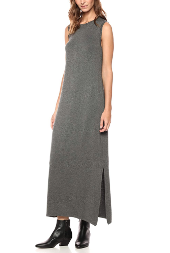 Daily Ritual Women's Jersey Crewneck Muscle Sleeve Maxi Dress w/ Side Slit