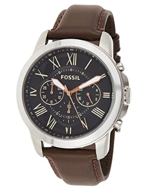 Fossil Men's Grant Stain Steel and Leather Chronograph Quartz Watch