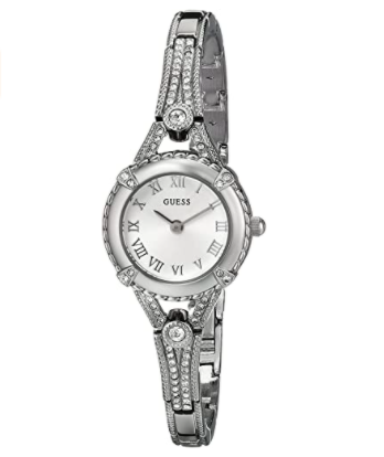 Guess Stainless Steel Petite Vintage Inspired Crystal Bracelet Watch