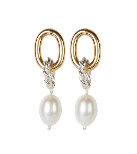 Isabel Lennse Two-Tone Twisted Pearl Hoops