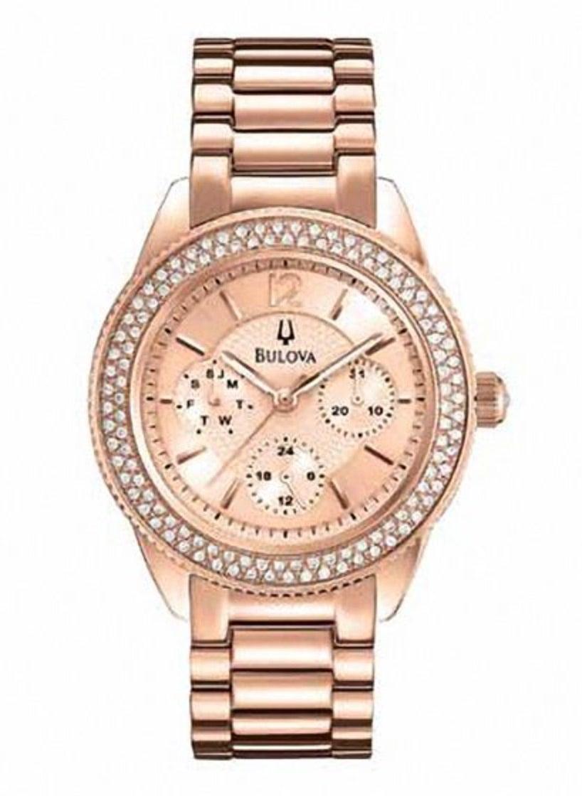 Ladies' Bulova Crystal Accent Chronograph Rose-Tone Watch
