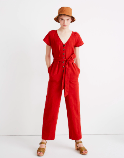Madewell Linen-Cotton Pleat-Sleeve Jumpsuit