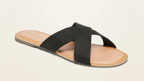 Old Navy Faux-Suede Cross-Strap Slide Sandals