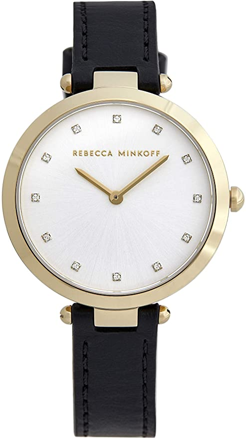 Rebecca Minkoff Women's Nina Stainless Steel Quartz Watch with Leather Calfskin Strap