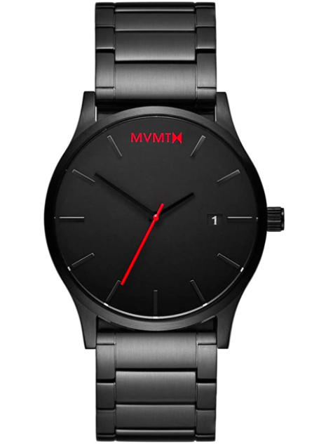 Men's Minimalist Vintage Watch with Analog Date | Black Link