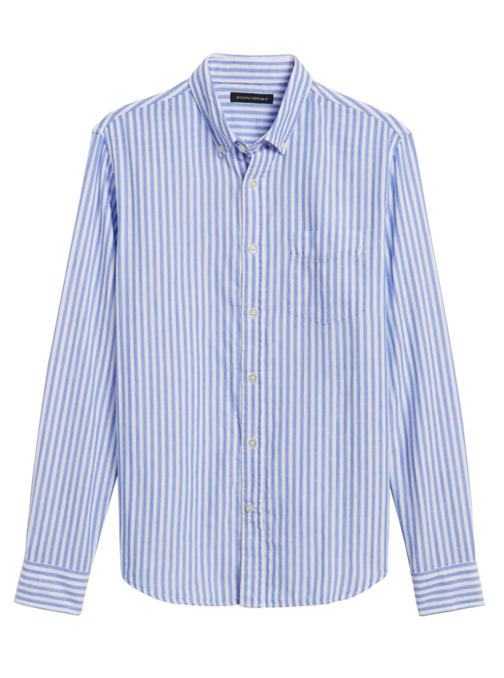 Untucked Slim-Fit Double Weave Striped Shirt