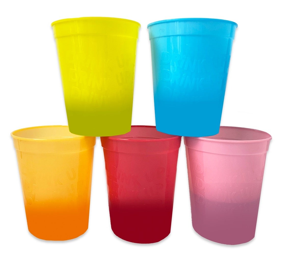 Packed Party 5 Ct. 'Drink Up!' Color Changing Cup Stack