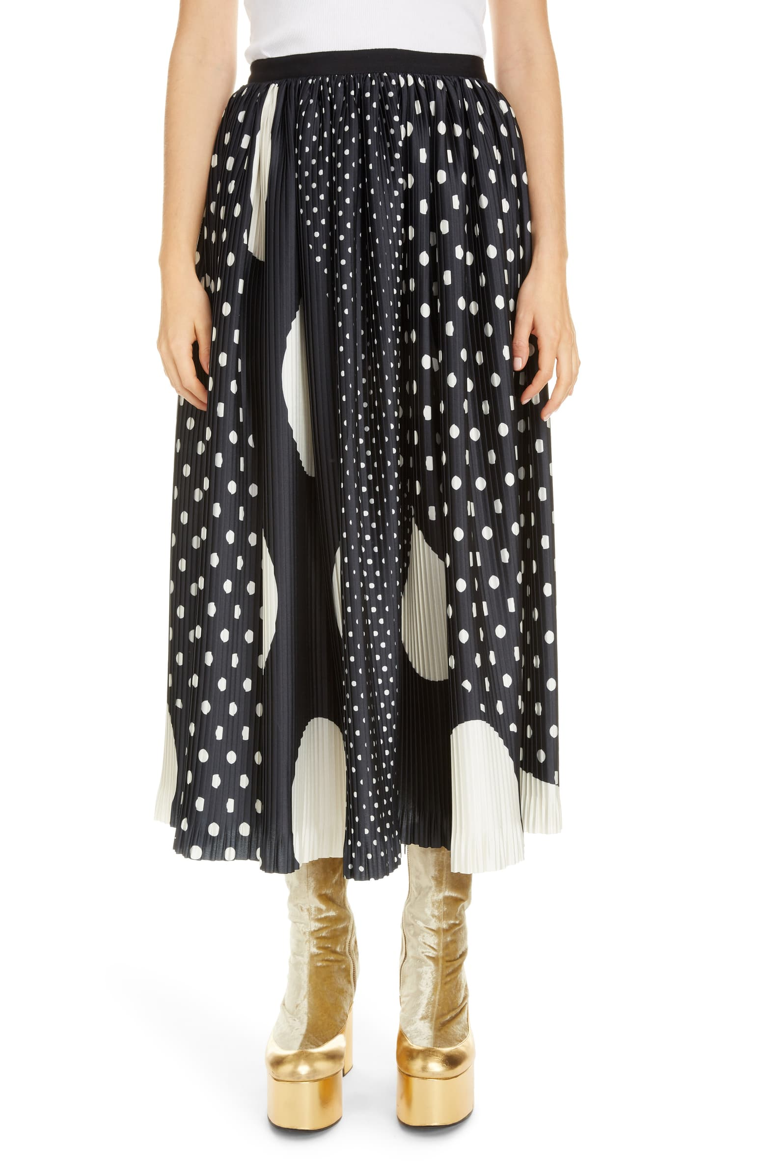 Sihame Mixed Dot Pleated Midi Skirt