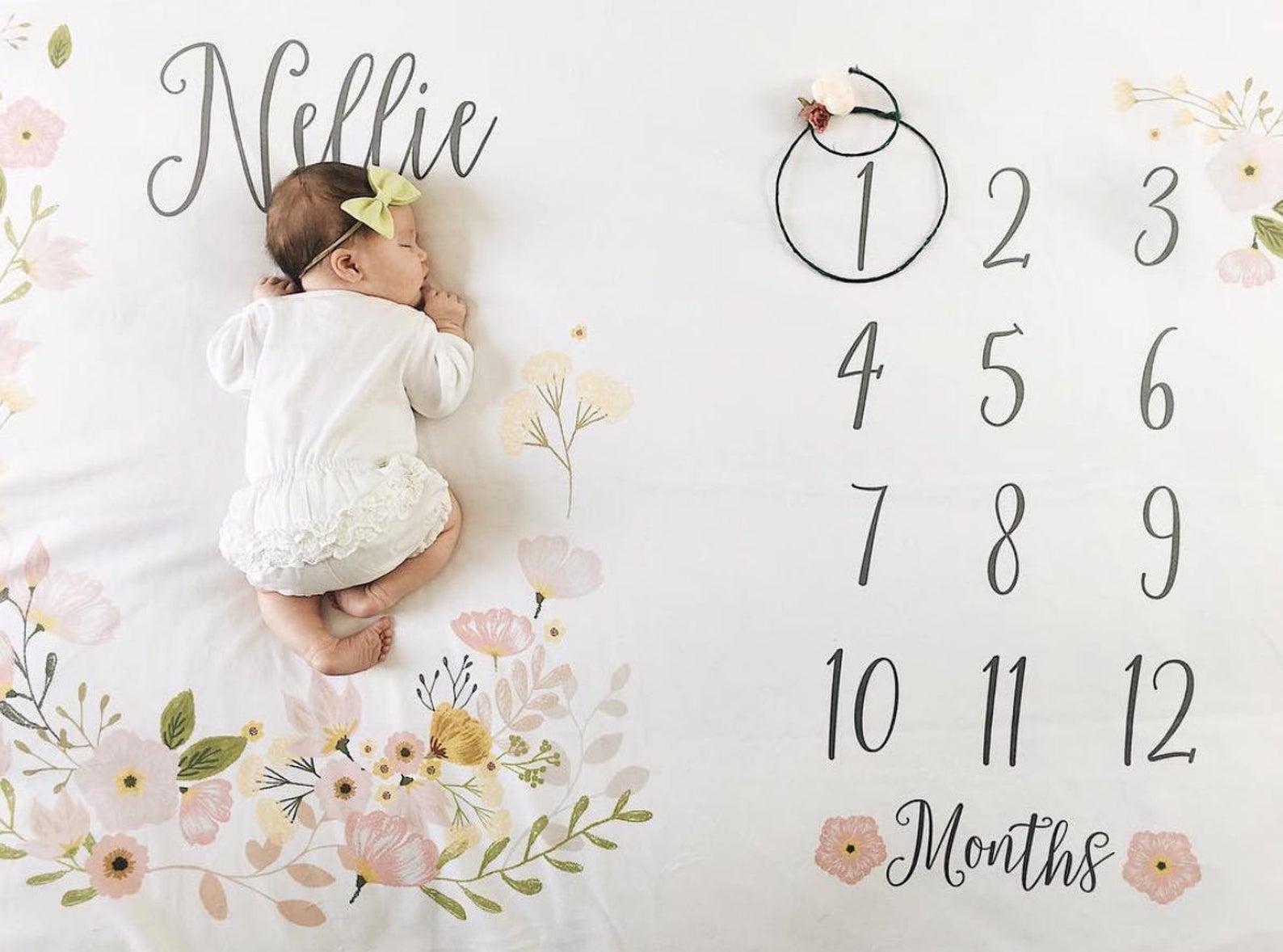 Baby Month Milestone Blanket- Blossom