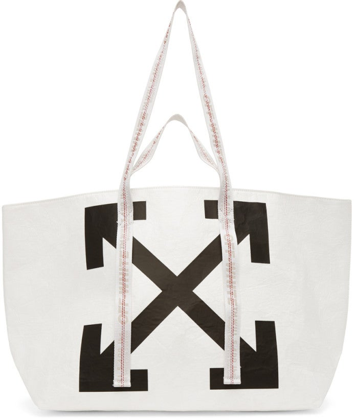 Off-White White Wrinkled Arrows Commercial Tote