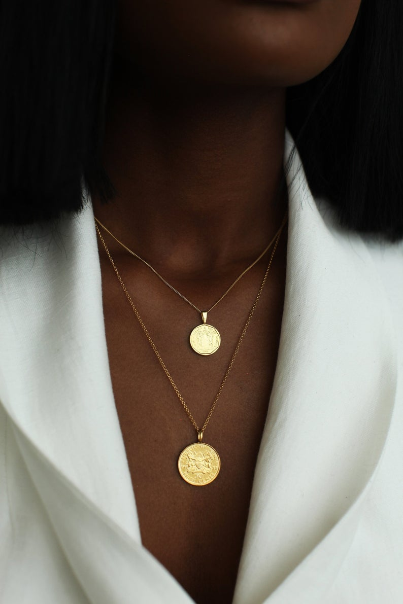 Omi Woods The Double Up Coin Necklace Stack in Gold Vermeil
