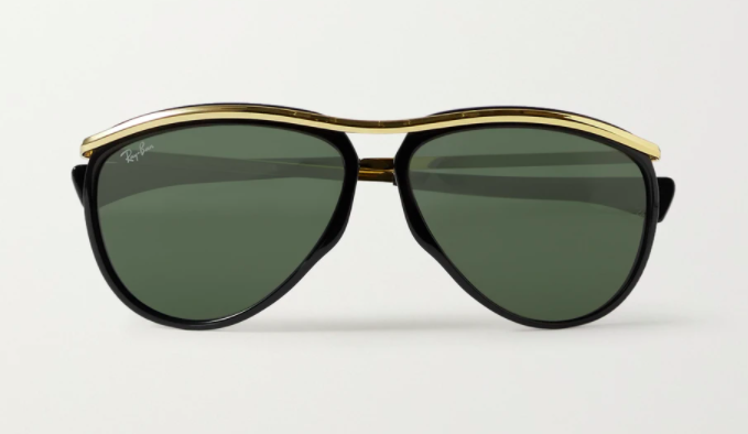 Ray-Ban Olympian Aviator Acetate and Gold-Tone Sunglasses