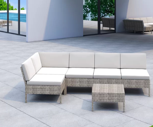 Joss & Main Bromborough 6 Piece Rattan Sectional Seating Group with Cushions