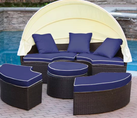 Bourbana All-Weather 4 Piece Rattan Complete Patio Set with Cushions