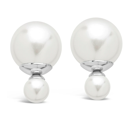 Sterling Forever Silver Plated Pearl Double Sided Studs