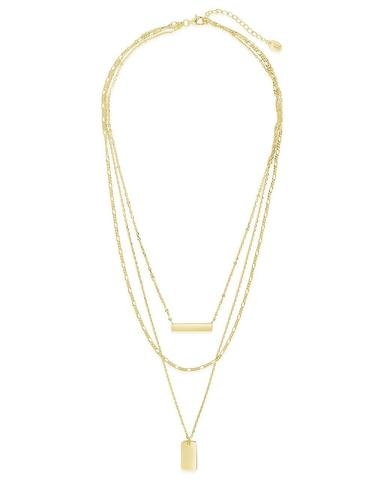 Sterling Forever Triple Layered Bar Necklace