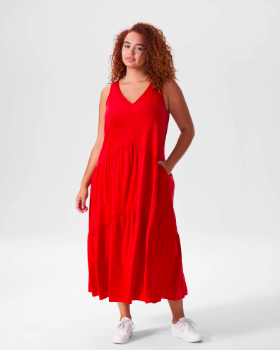 Universal Standard Emily Cupro Maxi Dress - Red