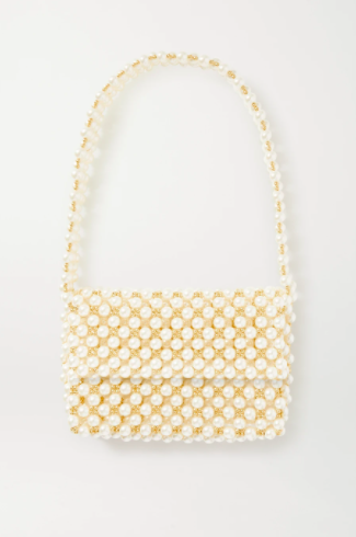 Vanina The Pearl Mist Faux Pearl and Gold-Plated Shoulder Bag