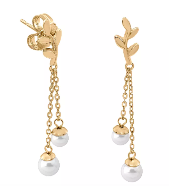 Majorica Simulated Pearl Double Drop Earrings