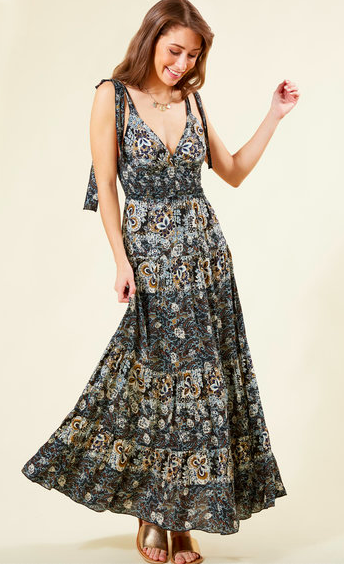 Free People Black Let's Smock About It Maxi Dress