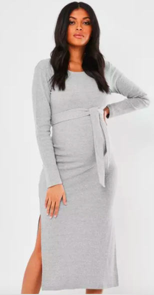 Missguided Ribbed Side Split Midi Dress