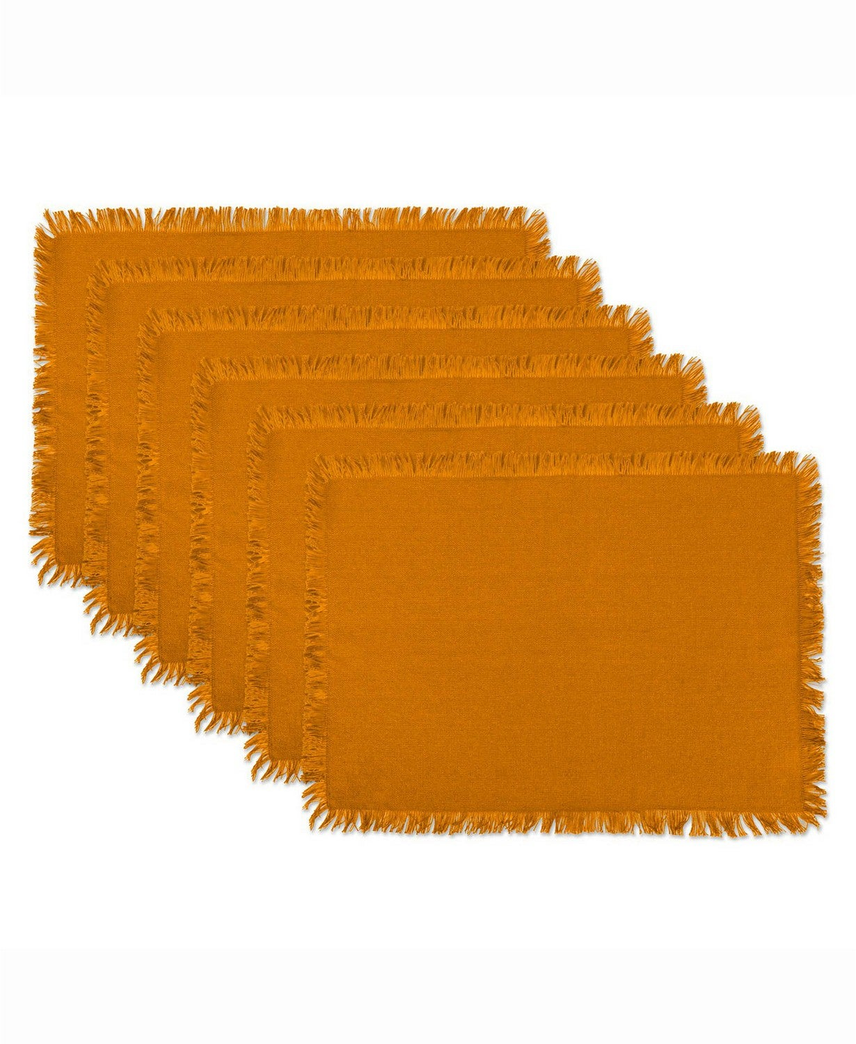 Design Imports Solid Pumpkin Spice Heavyweight Fringed Placemat Set of 6