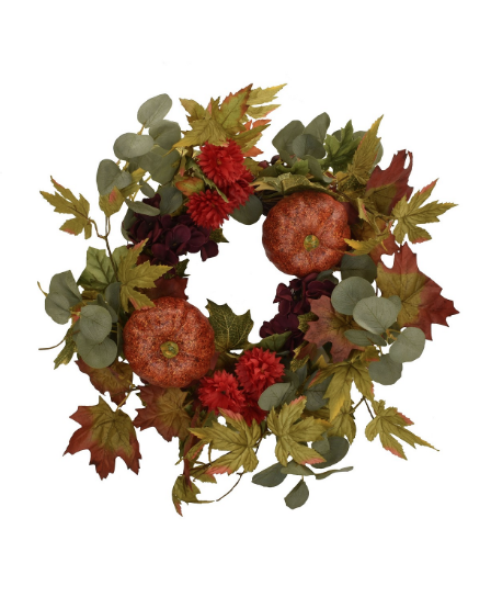 "Mills Floral 20"" D Pumpkin and Spice Wreath"