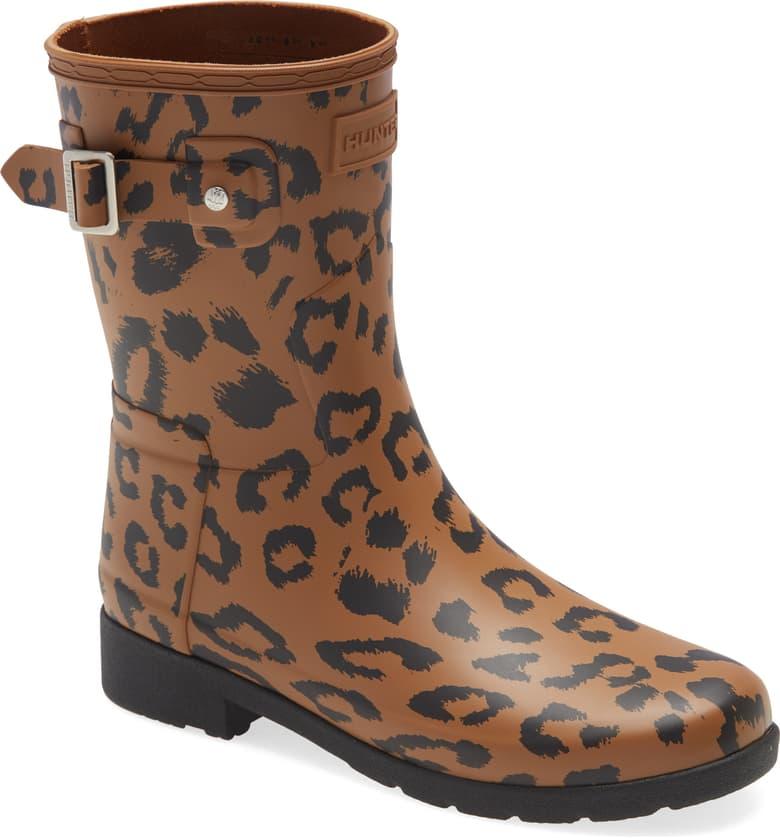 Hunter Leopard Print Refined Short Waterproof Rain Boot