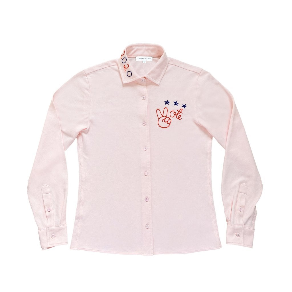 "Lingua Franca ""vote"" Piqué Cotton Button Down Long Sleeve"