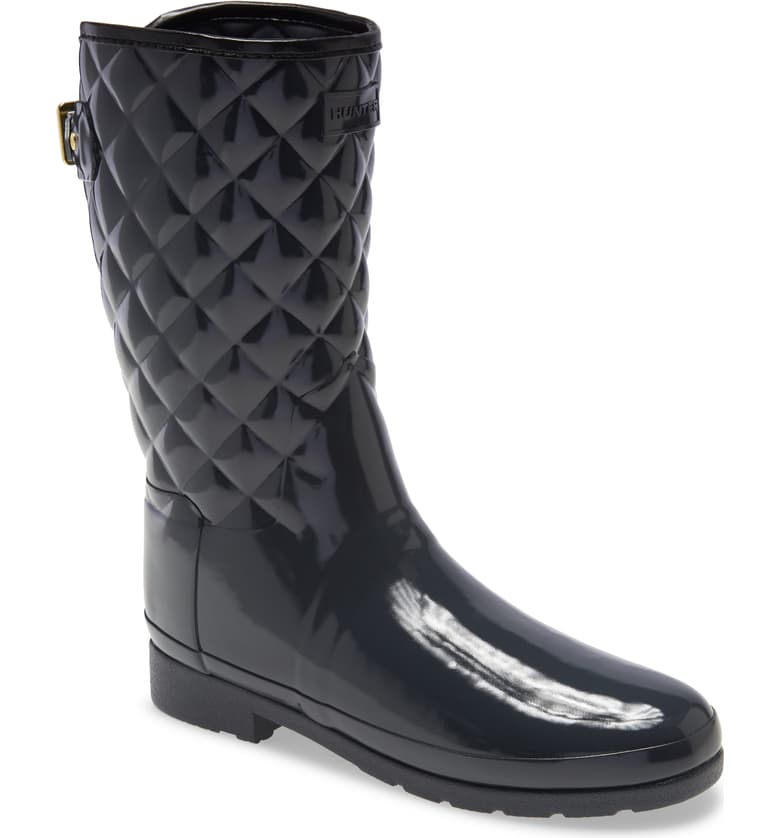 Hunter Refined High Gloss Quilted Short Waterproof Boots