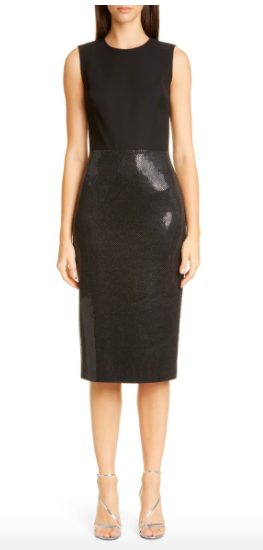 St. John Evening Mixed Media Sheath Dress