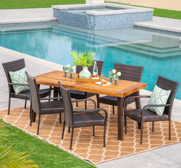 Christopher Knight Home Sutton Outdoor 7 Piece Acacia Wood/ Wicker Dining Set