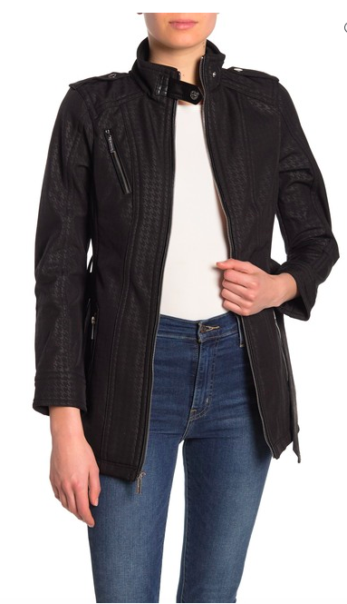 Michael Kors Missy Faux Leather Trim Belted Jacket