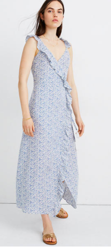 Madewell Ruffled Wrap Maxi Dress in Americana Floral