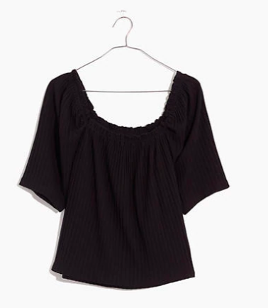 Madewell Knit Pointelle Peasant Top