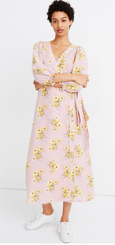 Madewell Linen-Blend Ruffle-Cuff Wrap Dress in Dutch Dandelions
