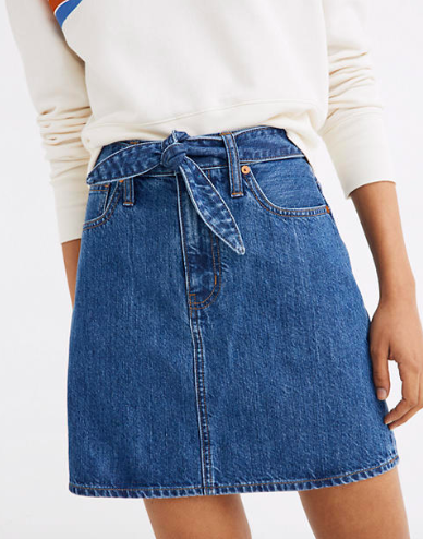Madewell Rigid Denim Straight Mini Skirt in Haydel Wash: Tie-Waist Edition