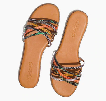 Madewell Tracie Crisscross Slide Sandal in Snake Embossed Leather