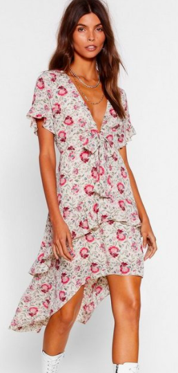 Nasty Gal Playing For Flower Floral Midi Dress