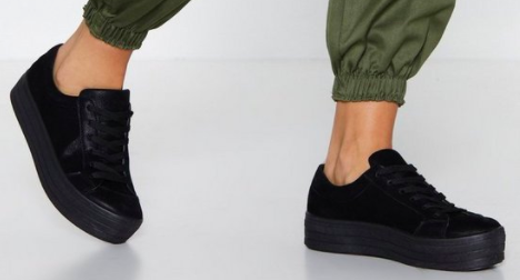 Nasty Gal On Top Platform Faux Suede Sneaker