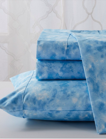RT Designers Collection Turquoise & White Tie-Dye Malibu Sheet Set