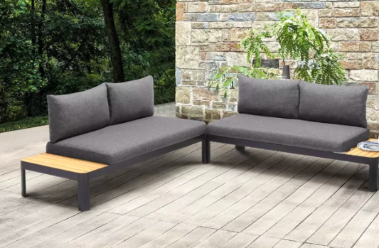 Aloysuis Outdoor Teak Loveseat with Cushions (Set of 2)