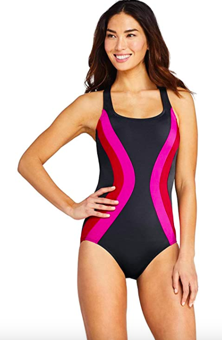 Lands' End Chlorine Resistant Scoop Neck One Piece Athletic Swimsuit